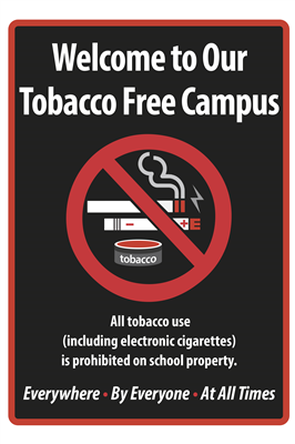 "12""x18"" Tobacco Free Metal Campus Sign"