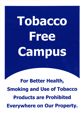 "7""x10"" Tobacco Free Medical Metal Sign, Sqr Crnrs"