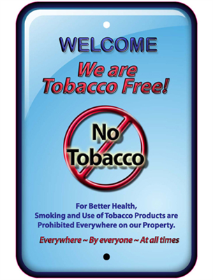 "5""x8"" Tobacco Free Front Mount Business Cling"