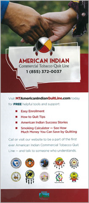 American Indian Quitline Rack Card